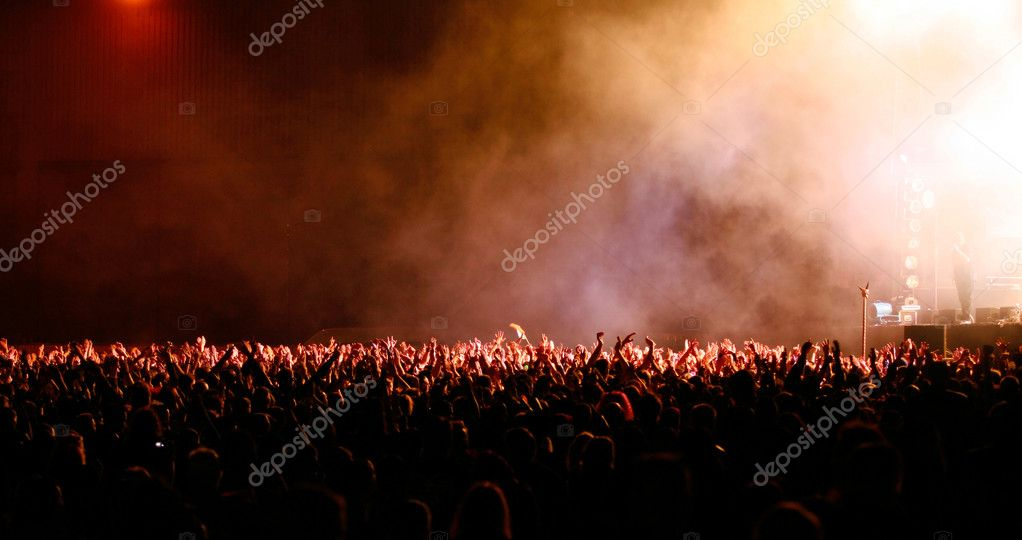Huge crowd at concert or open air show