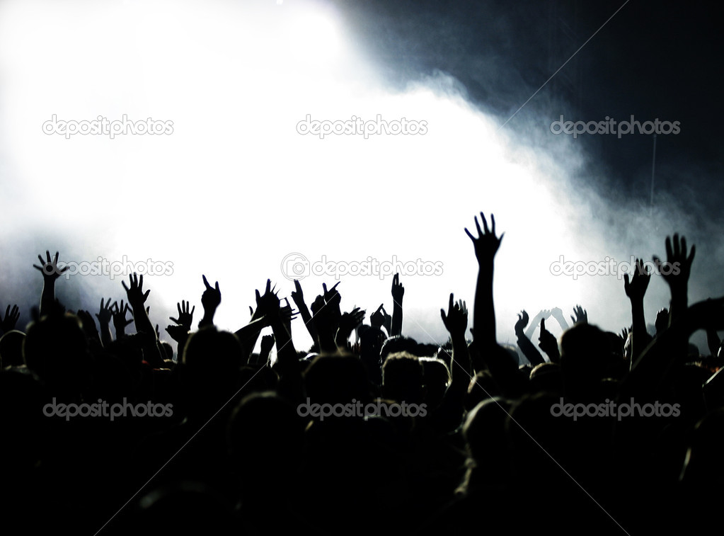 Cheering Crowd with copy space