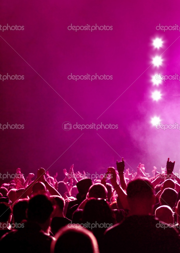 Magenta Concert Crowd With Stars