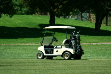 Golf cart on the fairway of a course