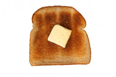 Isolated Slice of toast with butter