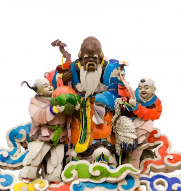 Three color Chinese god on roof