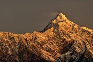 Mountain peak in dawn