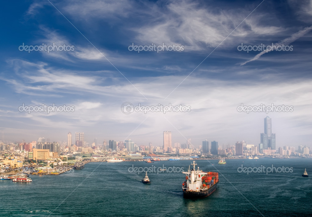 Cityscape of harbor