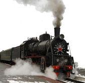 Dampflokomotiv.uralter Zug mit einer Dampflokomotive