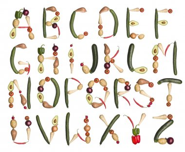 The Alphabet formed by vegetables