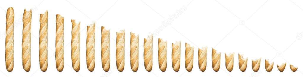 Time lapse - Baguette being eaten isolated on a white background