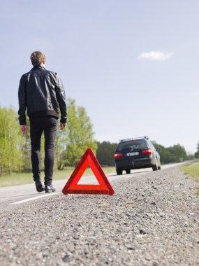 Man with car breakdown