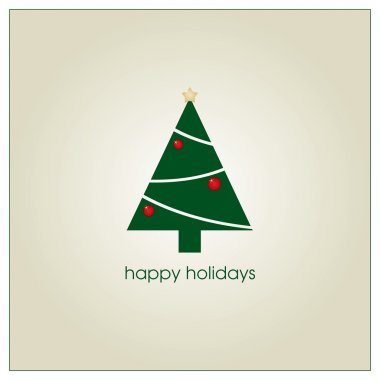 Holiday greeting card with christmas tree clip art vector