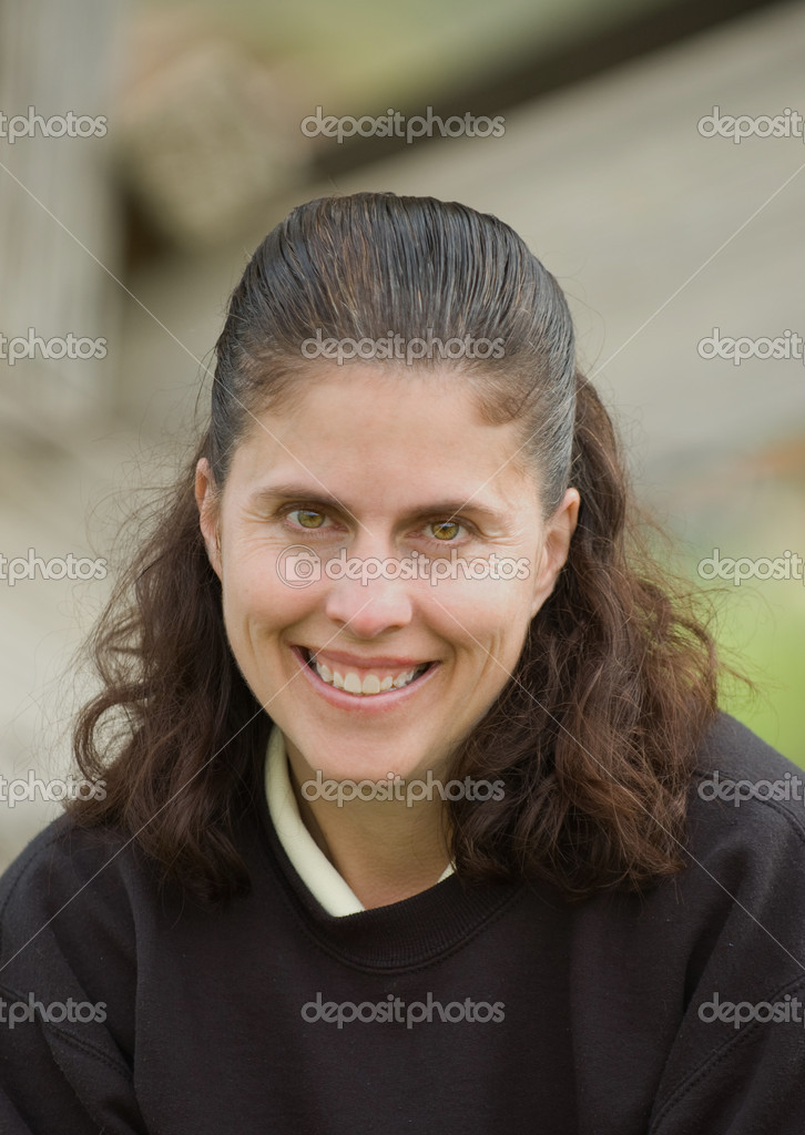 Middle aged caucasian woman outdoors