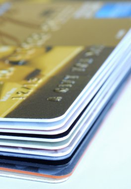 Close up view of a stack of gift cards