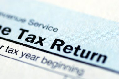 Close up view of the income tax return