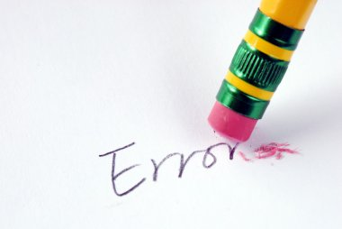 Erase the word Error with a rubber