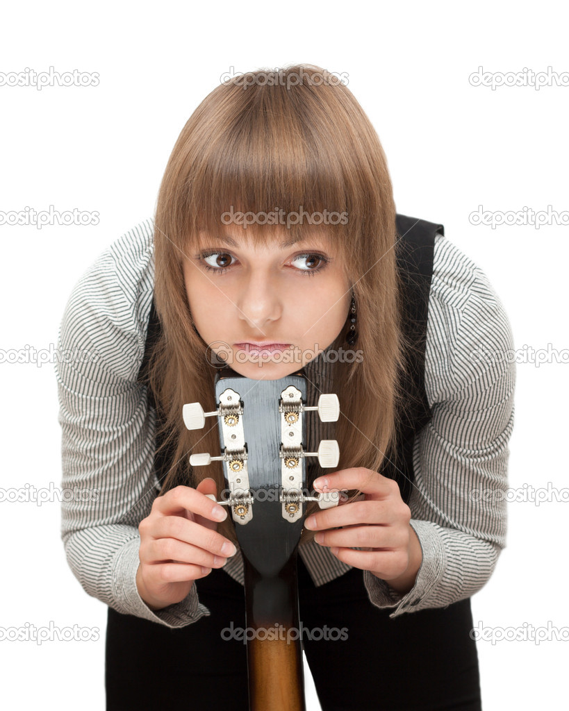 Portrait young girl with guitar
