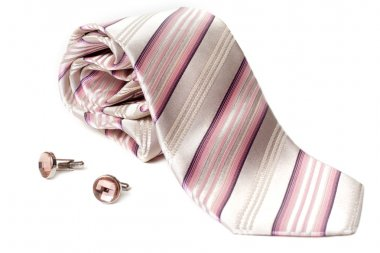 Rose striped tie and cuff links