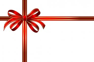 Bright gold and red gift bow
