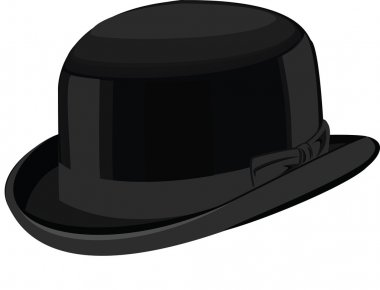 Stylish black bowler hat