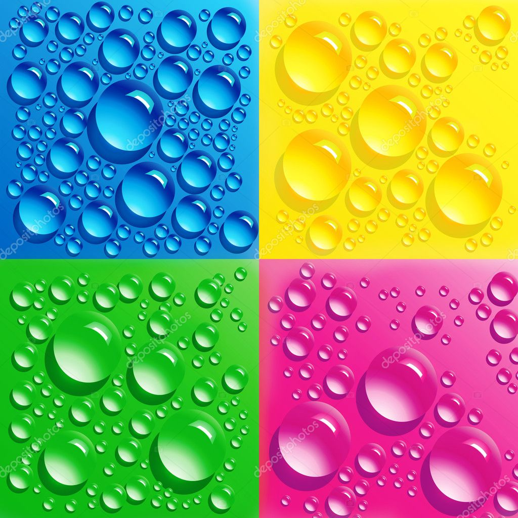 Set backgrounds with colorful bubbles