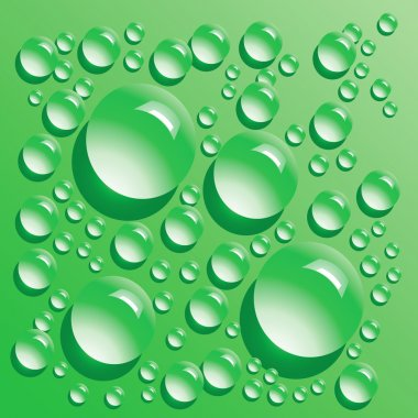 Vector green water bubbles