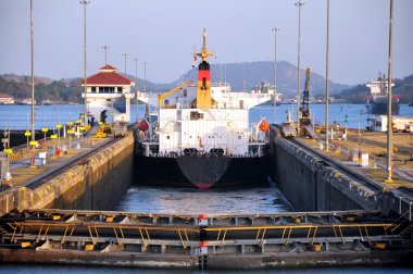 Chemical tanker in Panama canal