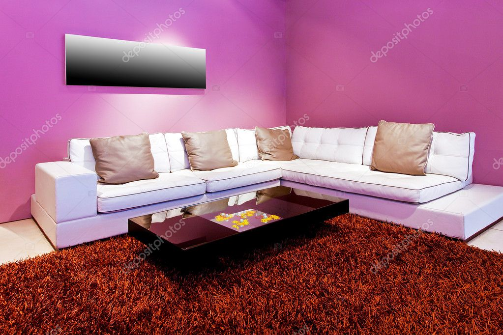 Interior Of Living Room With Purple Walls Photo By Baloncici