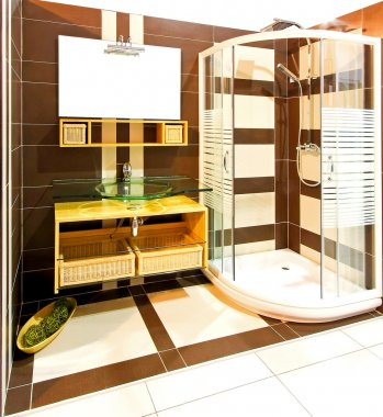 Brown bathroom shower