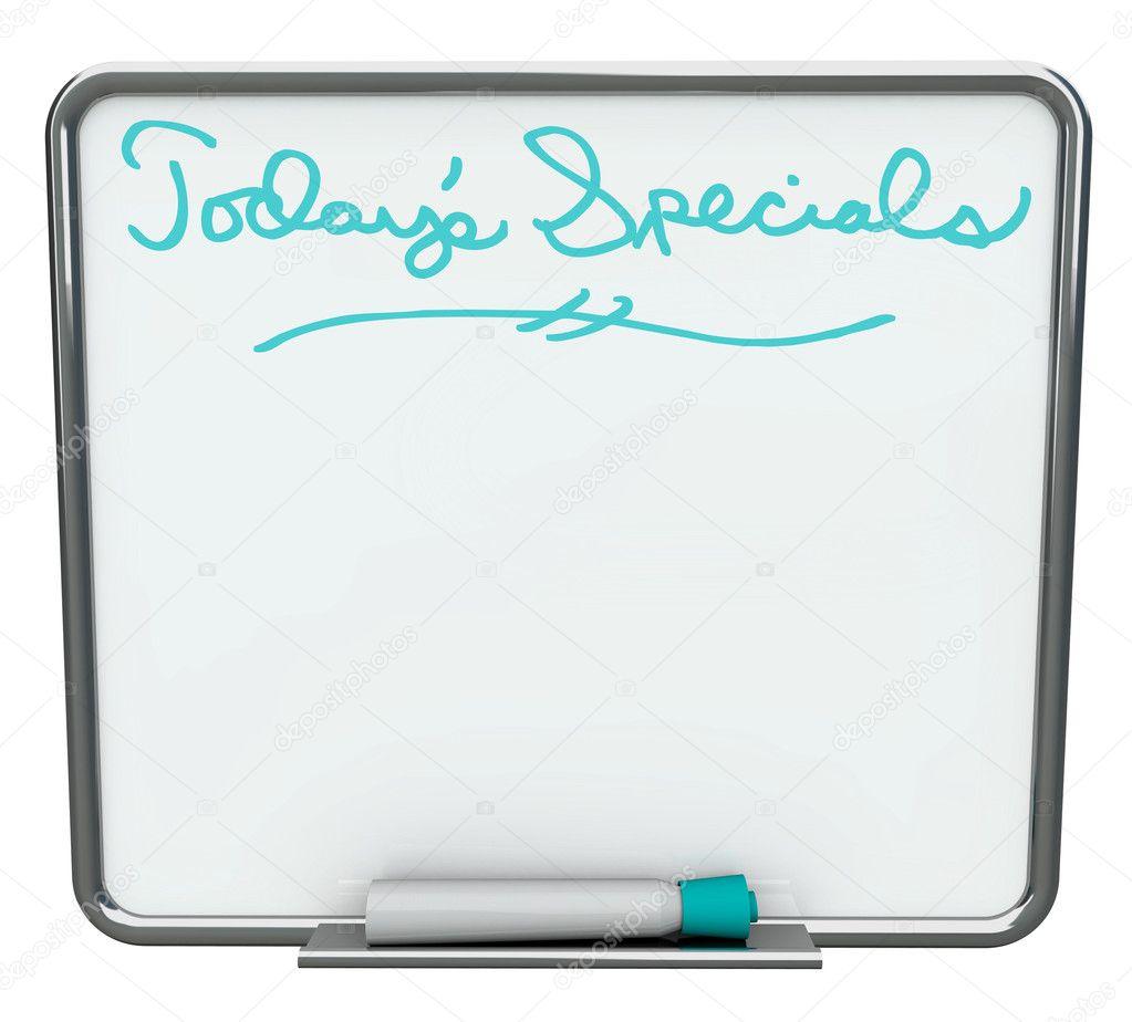 Especial hoy - tablero en blanco borrado seco blanco — Foto de stock ...