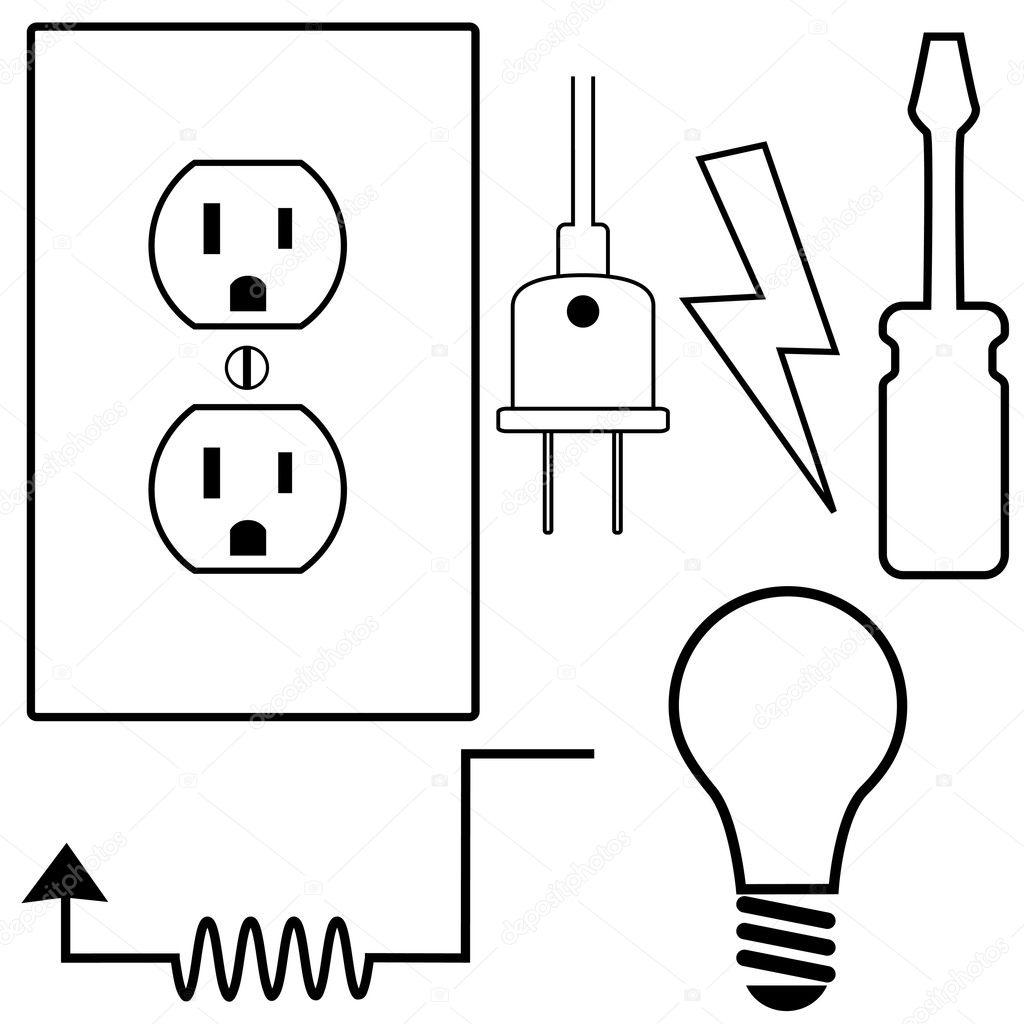 elektrische Reparatur Auftragnehmer Elektriker symbol — Stockvektor ...