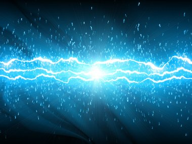 Lightnings on blue aquatic background