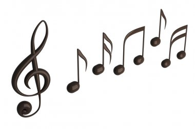Musical notes 3D render