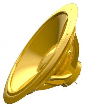 Golden speaker isolated on white