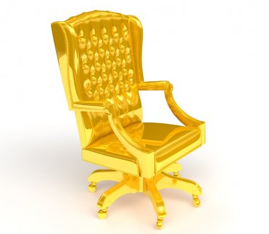 Golden chair isolated on white