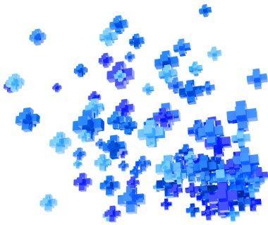 Blue pluses on white