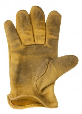 Worn out yellow leather glove