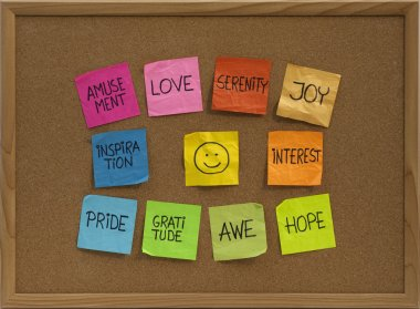 Smiley and ten positive emotions