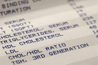 Blood and cholesterol screening results