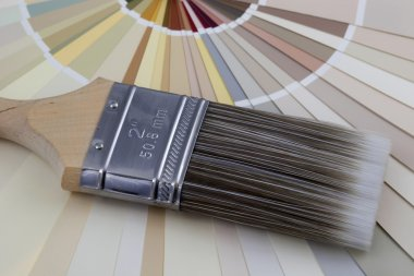 Paintbrush and paint color swatches