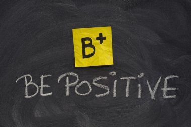 Be positive concept on blackboard