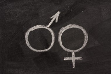 Male and female gender symbols, mars and venus, drawn with white chalk on blackboard stock vector