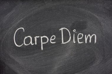 Carpe Diem phrase on blackboard