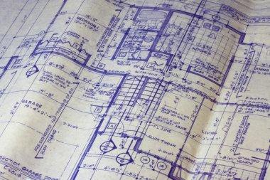 Detail of 40 years old house blueprint - main floor plan stock vector