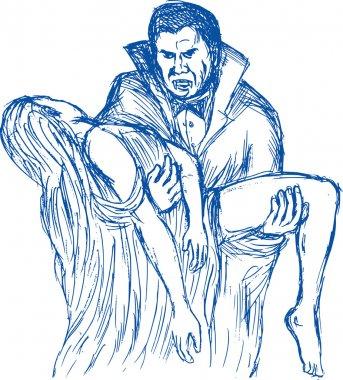 Count Dracula vampire carrying prey