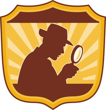 Illustration of a male detective inspector with magnifying glass set inside a shield stock vector