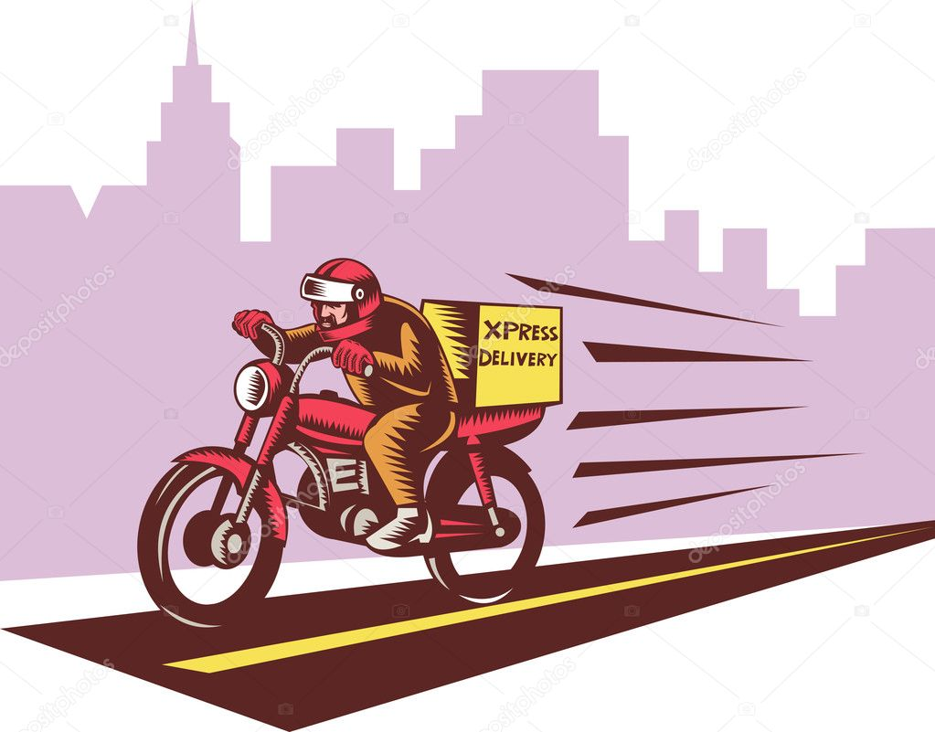 Courier delivery person ridie motorbike