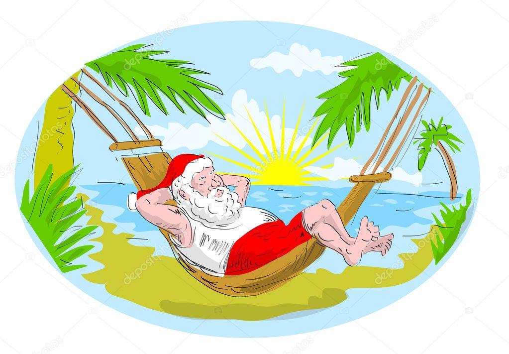 Santa claus hammock tropical beach