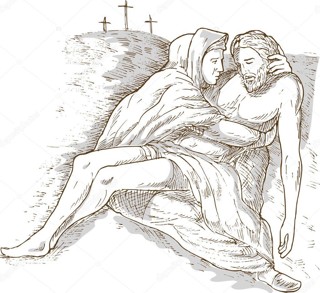 mother mary dead jesus christ cross u2014 stock photo patrimonio