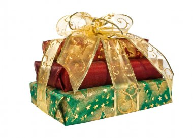 Wrapped gift boxes with gold ribbon