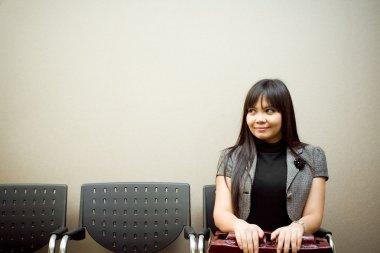 Last business woman waiting job interview