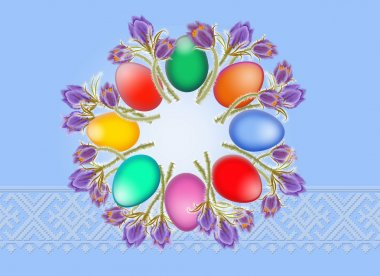 Easter background from eggs