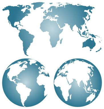 Earth globes over continents